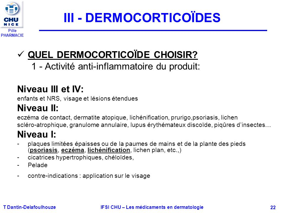 Pôle PHARMACIE T Dantin-Delafoulhouze IFSI CHU – Les médicaments en dermatologie - 22 III - DERMOCORTICOÏDES QUEL DERMOCORTICOÏDE CHOISIR? 1 - Activit