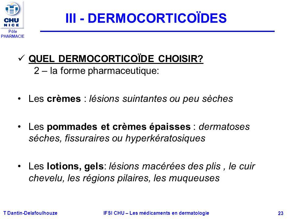 Pôle PHARMACIE T Dantin-Delafoulhouze IFSI CHU – Les médicaments en dermatologie - 23 III - DERMOCORTICOÏDES QUEL DERMOCORTICOÏDE CHOISIR? 2 – la form