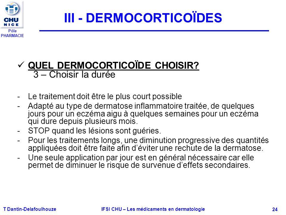 Pôle PHARMACIE T Dantin-Delafoulhouze IFSI CHU – Les médicaments en dermatologie - 24 III - DERMOCORTICOÏDES QUEL DERMOCORTICOÏDE CHOISIR? 3 – Choisir