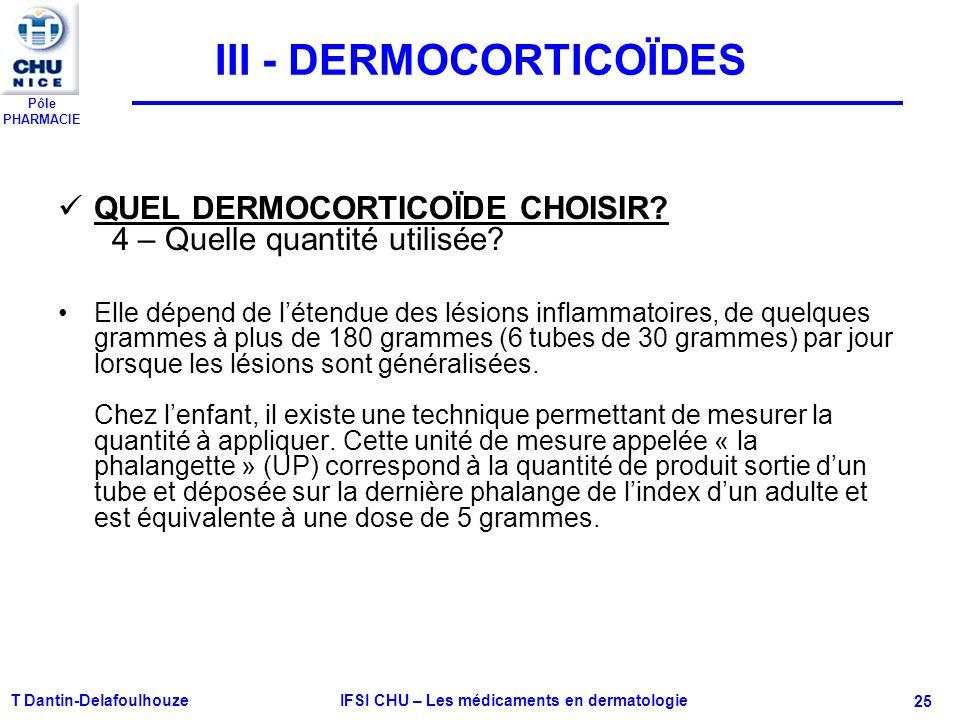 Pôle PHARMACIE T Dantin-Delafoulhouze IFSI CHU – Les médicaments en dermatologie - 25 III - DERMOCORTICOÏDES QUEL DERMOCORTICOÏDE CHOISIR? 4 – Quelle