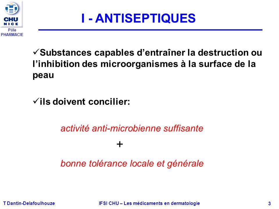 Pôle PHARMACIE T Dantin-Delafoulhouze IFSI CHU – Les médicaments en dermatologie - 3 I - ANTISEPTIQUES Substances capables dentraîner la destruction o