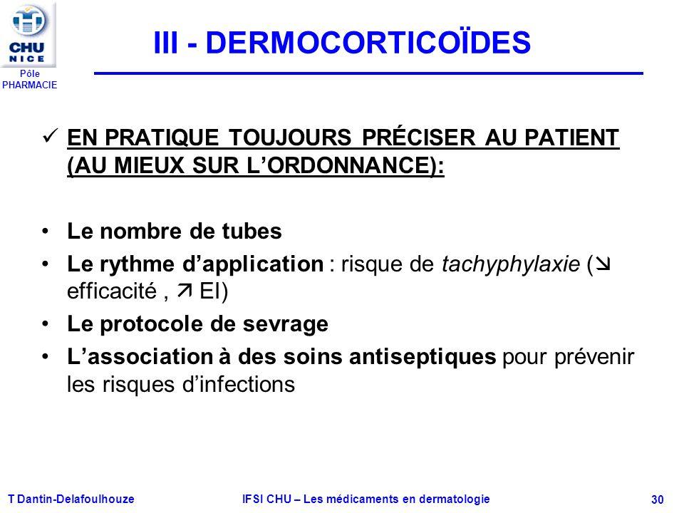 Pôle PHARMACIE T Dantin-Delafoulhouze IFSI CHU – Les médicaments en dermatologie - 30 III - DERMOCORTICOÏDES EN PRATIQUE TOUJOURS PRÉCISER AU PATIENT