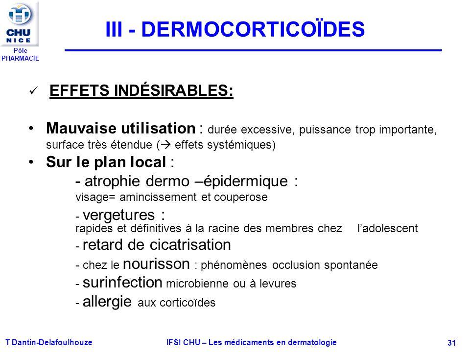 Pôle PHARMACIE T Dantin-Delafoulhouze IFSI CHU – Les médicaments en dermatologie - 31 III - DERMOCORTICOÏDES EFFETS INDÉSIRABLES: Mauvaise utilisation