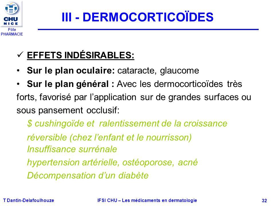 Pôle PHARMACIE T Dantin-Delafoulhouze IFSI CHU – Les médicaments en dermatologie - 32 III - DERMOCORTICOÏDES EFFETS INDÉSIRABLES: Sur le plan oculaire