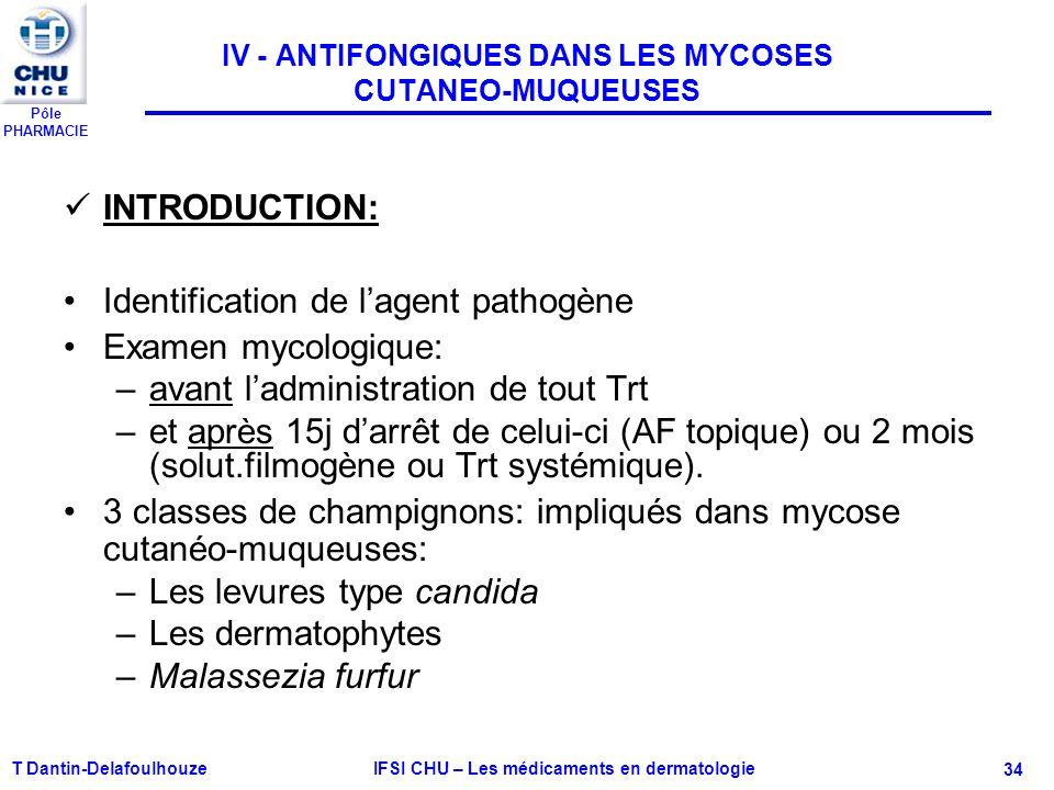 Pôle PHARMACIE T Dantin-Delafoulhouze IFSI CHU – Les médicaments en dermatologie - 34 IV - ANTIFONGIQUES DANS LES MYCOSES CUTANEO-MUQUEUSES INTRODUCTI