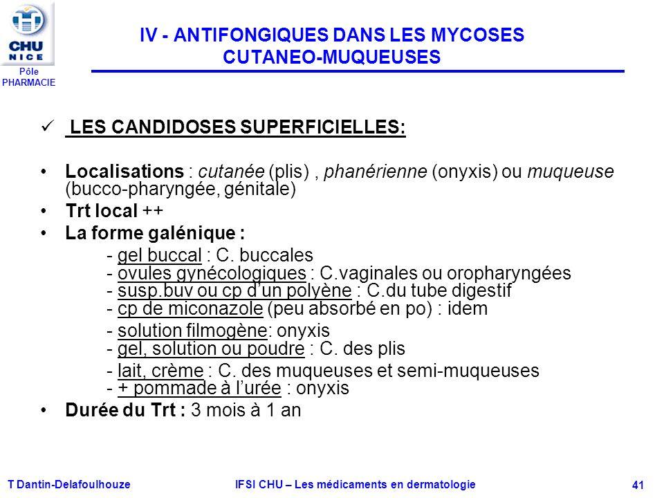 Pôle PHARMACIE T Dantin-Delafoulhouze IFSI CHU – Les médicaments en dermatologie - 41 IV - ANTIFONGIQUES DANS LES MYCOSES CUTANEO-MUQUEUSES LES CANDID