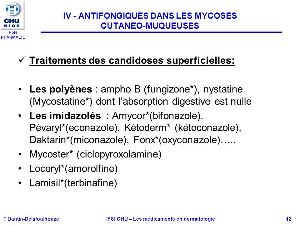 Pôle PHARMACIE T Dantin-Delafoulhouze IFSI CHU – Les médicaments en dermatologie - 42 IV - ANTIFONGIQUES DANS LES MYCOSES CUTANEO-MUQUEUSES Traitement