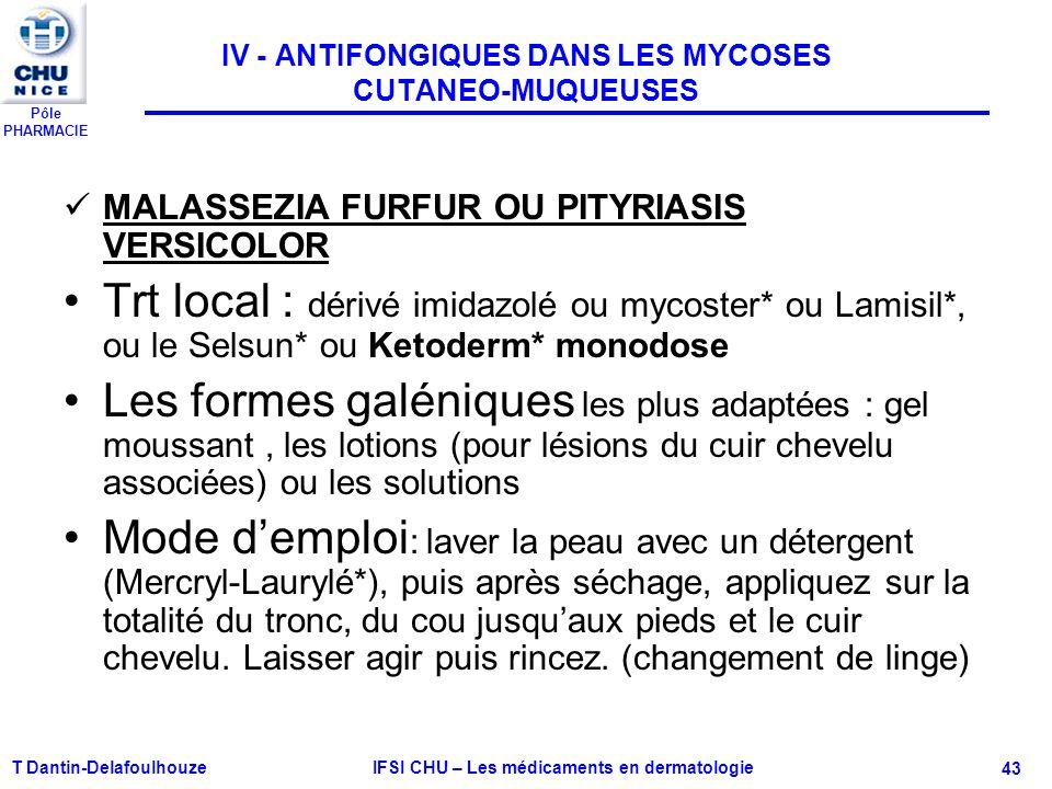 Pôle PHARMACIE T Dantin-Delafoulhouze IFSI CHU – Les médicaments en dermatologie - 43 IV - ANTIFONGIQUES DANS LES MYCOSES CUTANEO-MUQUEUSES MALASSEZIA