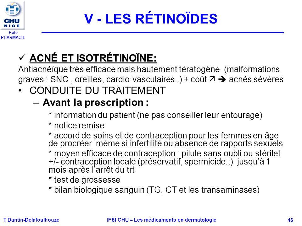 Pôle PHARMACIE V - LES RÉTINOÏDES ACNÉ ET ISOTRÉTINOÏNE: Antiacnéïque très efficace mais hautement tératogène (malformations graves : SNC, oreilles, c