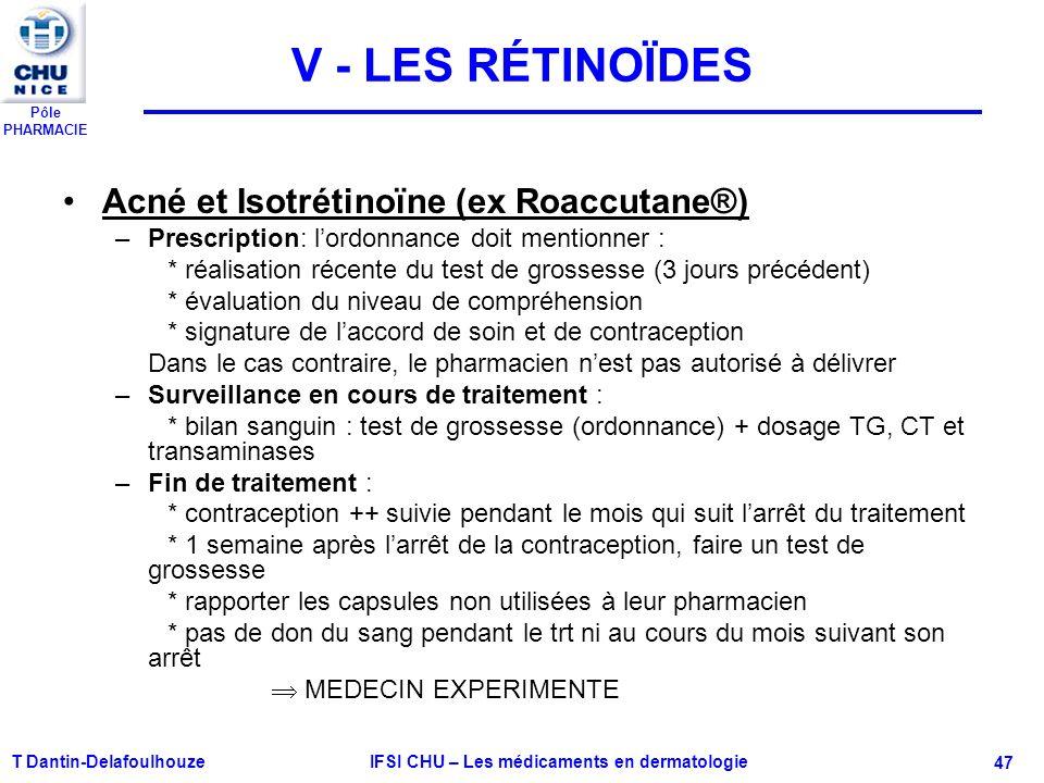 Pôle PHARMACIE V - LES RÉTINOÏDES Acné et Isotrétinoïne (ex Roaccutane®) –Prescription: lordonnance doit mentionner : * réalisation récente du test de