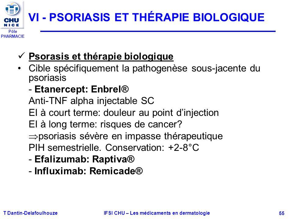 Pôle PHARMACIE VI - PSORIASIS ET THÉRAPIE BIOLOGIQUE Psorasis et thérapie biologique Cible spécifiquement la pathogenèse sous-jacente du psoriasis - E