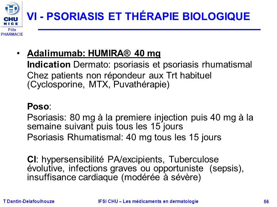Pôle PHARMACIE VI - PSORIASIS ET THÉRAPIE BIOLOGIQUE Adalimumab: HUMIRA® 40 mg Indication Dermato: psoriasis et psoriasis rhumatismal Chez patients no