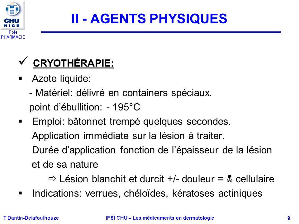 Pôle PHARMACIE T Dantin-Delafoulhouze IFSI CHU – Les médicaments en dermatologie - 9 II - AGENTS PHYSIQUES CRYOTHÉRAPIE: Azote liquide: - Matériel: dé