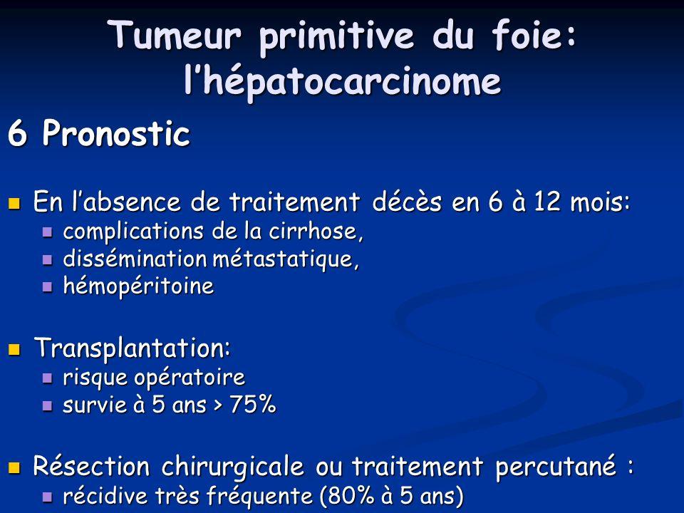 Tumeur primitive du foie: lhépatocarcinome 6 Pronostic En labsence de traitement décès en 6 à 12 mois: En labsence de traitement décès en 6 à 12 mois: