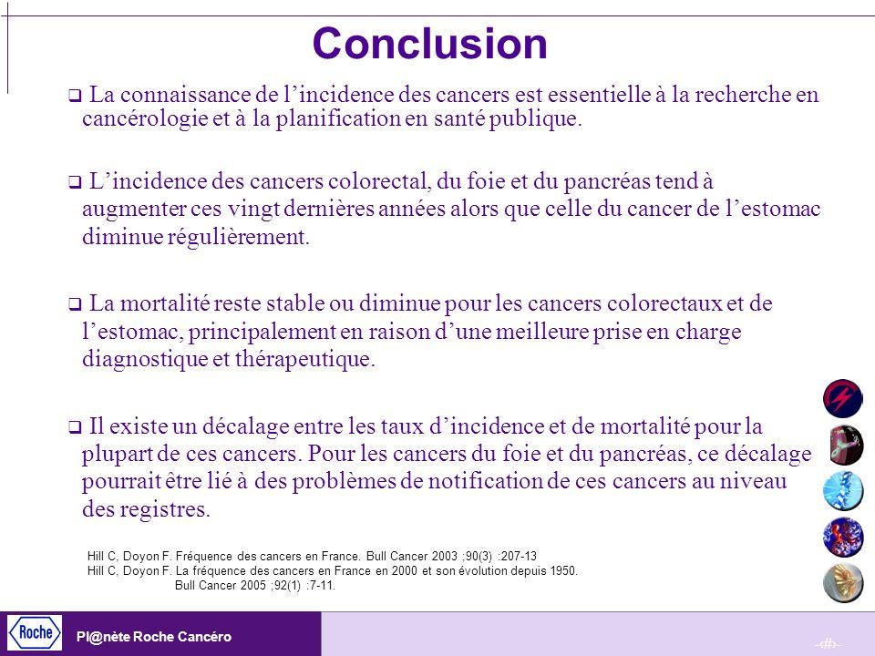 -27- Pl@nète Roche Cancéro Conclusion La connaissance de lincidence des cancers est essentielle à la recherche en cancérologie et à la planification e