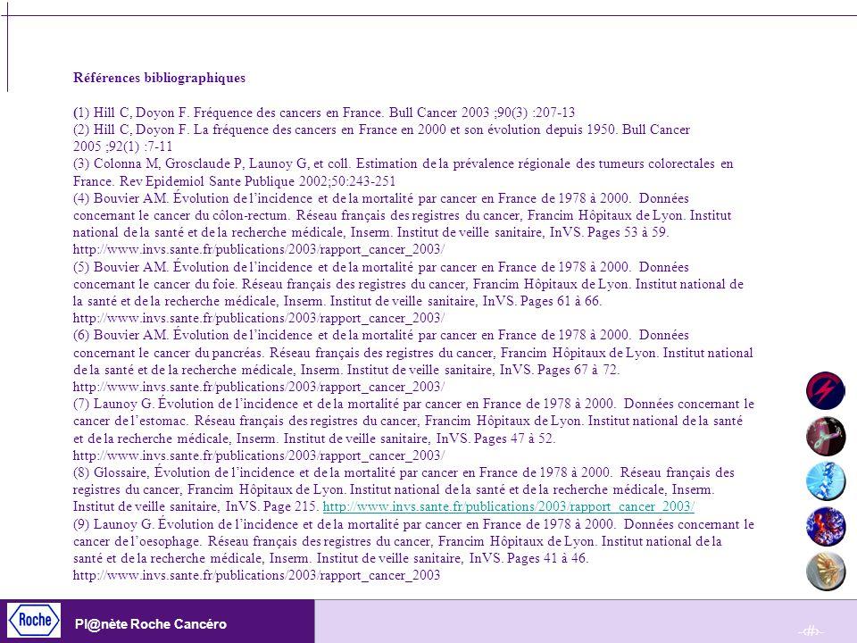 -28- Pl@nète Roche Cancéro Références bibliographiques (1) Hill C, Doyon F. Fréquence des cancers en France. Bull Cancer 2003 ;90(3) :207-13 (2) Hill