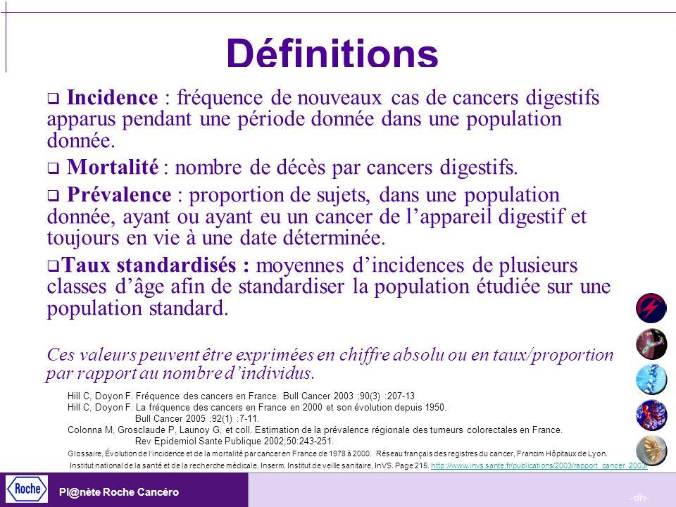 -4- Pl@nète Roche Cancéro Définitions Incidence : fréquence de nouveaux cas de cancers digestifs apparus pendant une période donnée dans une populatio