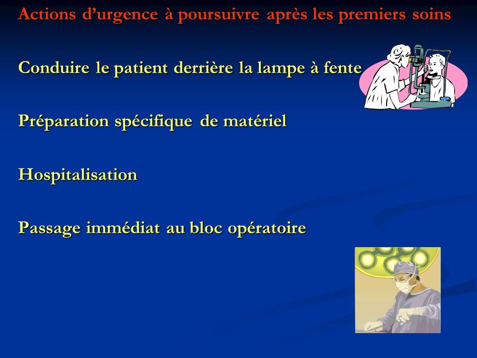 Actions durgence à poursuivre après les premiers soins Conduire le patient derrière la lampe à fente Préparation spécifique de matériel Hospitalisatio