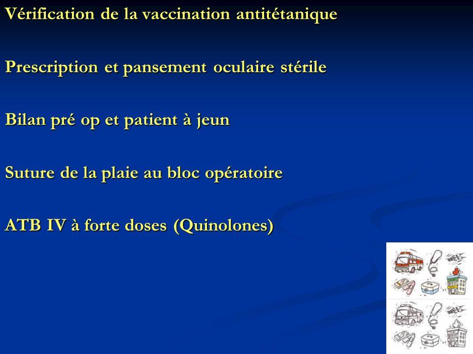 Vérification de la vaccination antitétanique Prescription et pansement oculaire stérile Bilan pré op et patient à jeun Suture de la plaie au bloc opér