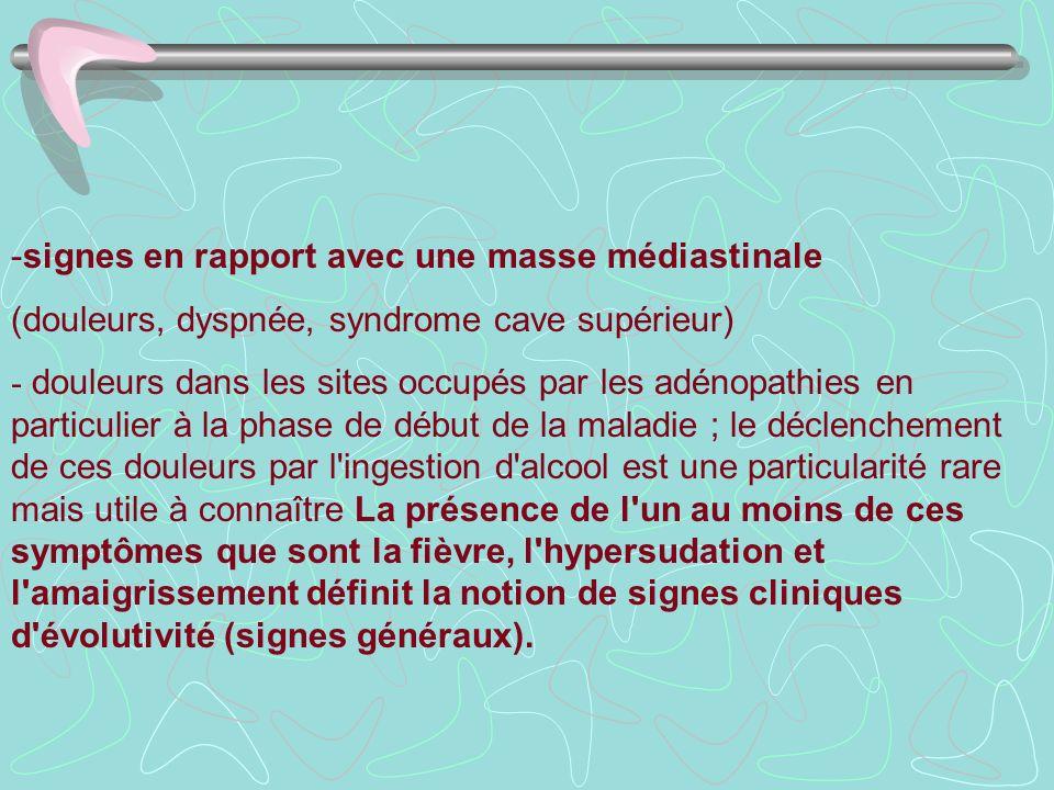 -signes en rapport avec une masse médiastinale (douleurs, dyspnée, syndrome cave supérieur) - douleurs dans les sites occupés par les adénopathies en
