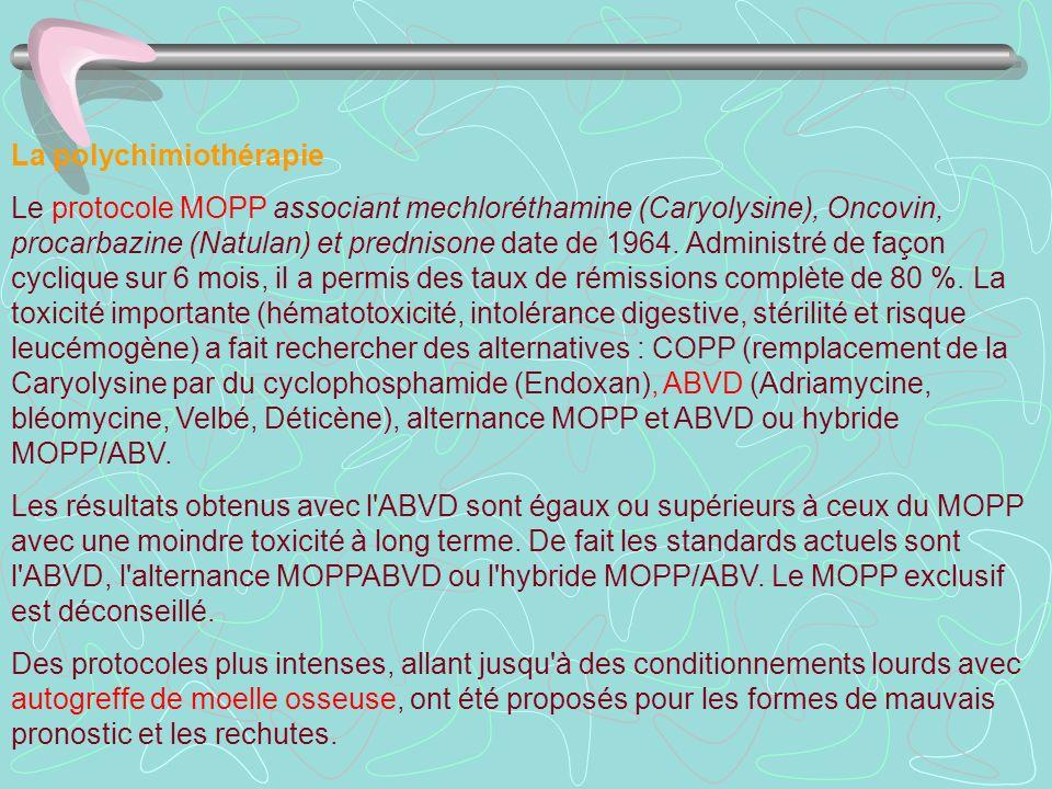 La polychimiothérapie Le protocole MOPP associant mechloréthamine (Caryolysine), Oncovin, procarbazine (Natulan) et prednisone date de 1964. Administr