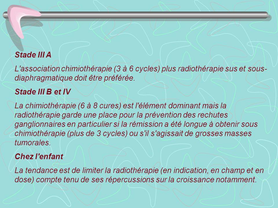 Stade III A L'association chimiothérapie (3 à 6 cycles) plus radiothérapie sus et sous- diaphragmatique doit être préférée. Stade III B et IV La chimi