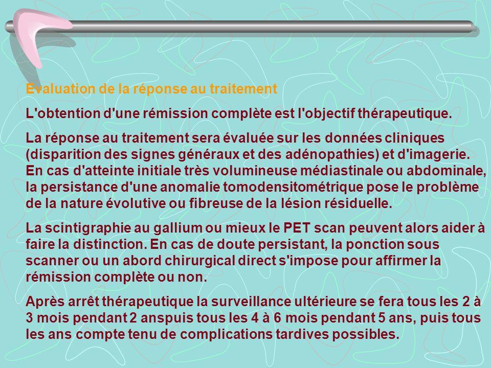 Evaluation de la réponse au traitement L'obtention d'une rémission complète est l'objectif thérapeutique. La réponse au traitement sera évaluée sur le