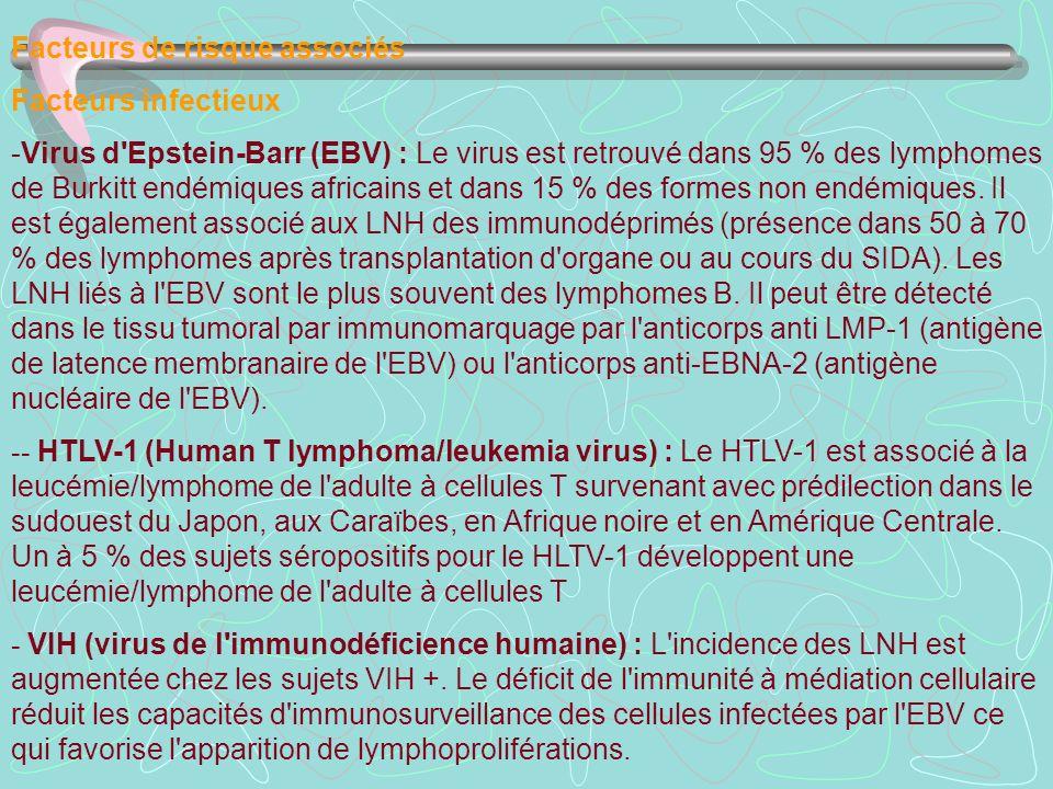 Facteurs de risque associés Facteurs infectieux -Virus d'Epstein-Barr (EBV) : Le virus est retrouvé dans 95 % des lymphomes de Burkitt endémiques afri