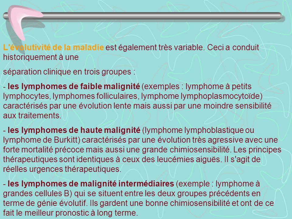 L'évolutivité de la maladie est également très variable. Ceci a conduit historiquement à une séparation clinique en trois groupes : - les lymphomes de