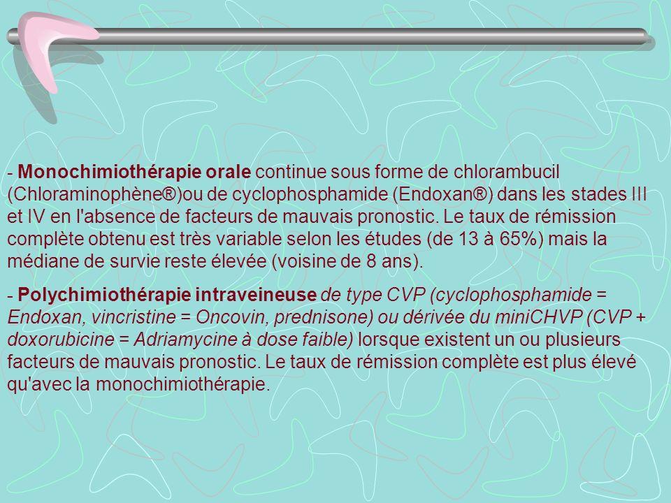 - Monochimiothérapie orale continue sous forme de chlorambucil (Chloraminophène®)ou de cyclophosphamide (Endoxan®) dans les stades III et IV en l'abse