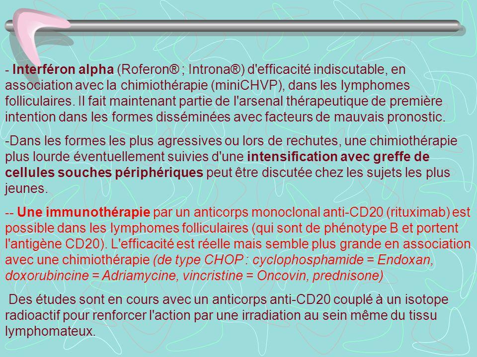 - Interféron alpha (Roferon® ; Introna®) d'efficacité indiscutable, en association avec la chimiothérapie (miniCHVP), dans les lymphomes folliculaires