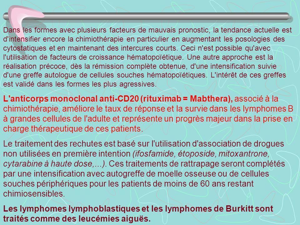 Dans les formes avec plusieurs facteurs de mauvais pronostic, la tendance actuelle est d'intensifier encore la chimiothérapie en particulier en augmen