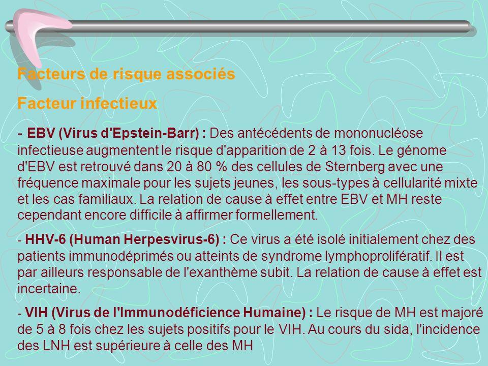 Facteurs de risque associés Facteur infectieux - EBV (Virus d'Epstein-Barr) : Des antécédents de mononucléose infectieuse augmentent le risque d'appar