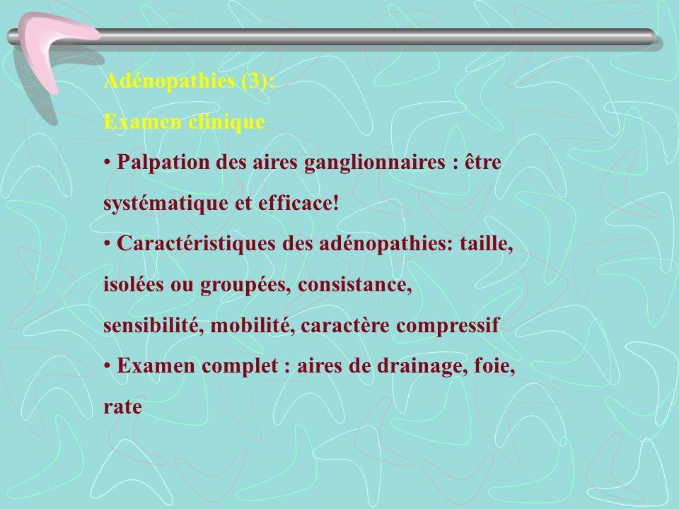 Adénopathies (3): Examen clinique Palpation des aires ganglionnaires : être systématique et efficace! Caractéristiques des adénopathies: taille, isolé