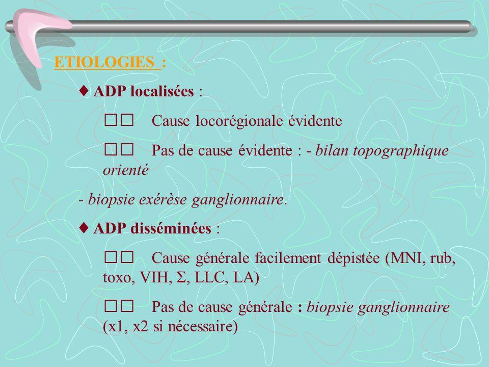 ETIOLOGIES : ADP localisées : Cause locorégionale évidente Pas de cause évidente : - bilan topographique orienté - biopsie exérèse ganglionnaire. ADP