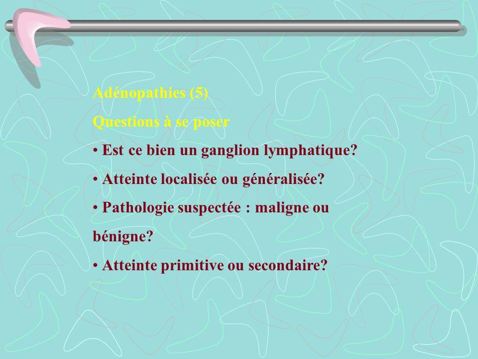 Adénopathies (5) Questions à se poser Est ce bien un ganglion lymphatique? Atteinte localisée ou généralisée? Pathologie suspectée : maligne ou bénign