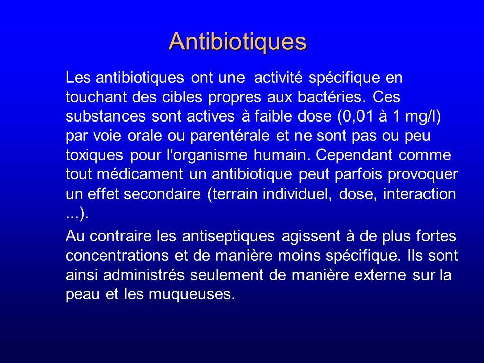 Antibiotiques Les antibiotiques ont une activité spécifique en touchant des cibles propres aux bactéries. Ces substances sont actives à faible dose (0