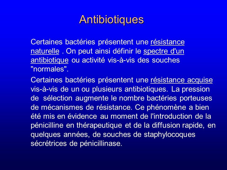 Mesure de lactivité des antibiotiques CMI (concentration minimale inhibitrice) plus faible concentration---> absence de culture visible CMA (concentration minimale active) exemple filamentation BGN CMA<CMI CMB (concentration minimale bactéricide) plus faible concentration---> moins de 0,01% survivants 32 16 8 4 2 1 0 A: 3 colonies B: 12 colonies C: 85 colonies EDCBA T: 1 000 000 000 colonies T D: 1000 colonies E: 10 000 000 colonies
