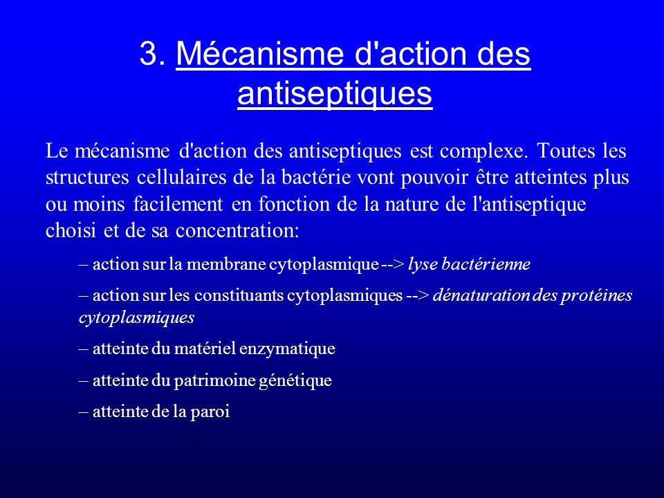 3. Mécanisme d'action des antiseptiques Le mécanisme d'action des antiseptiques est complexe. Toutes les structures cellulaires de la bactérie vont po