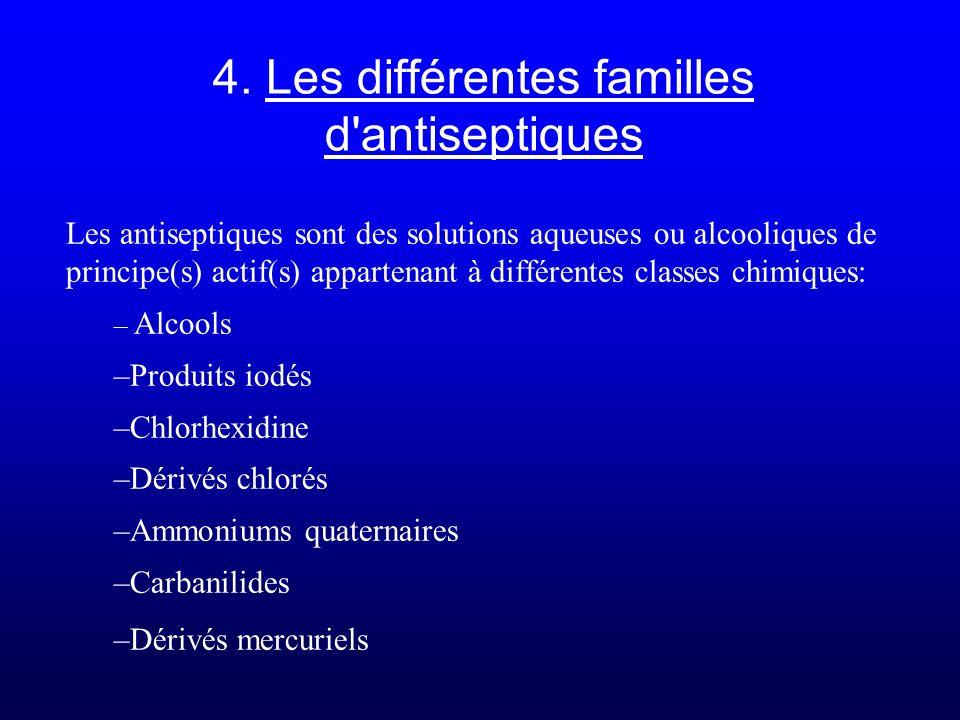 4. Les différentes familles d'antiseptiques Les antiseptiques sont des solutions aqueuses ou alcooliques de principe(s) actif(s) appartenant à différe