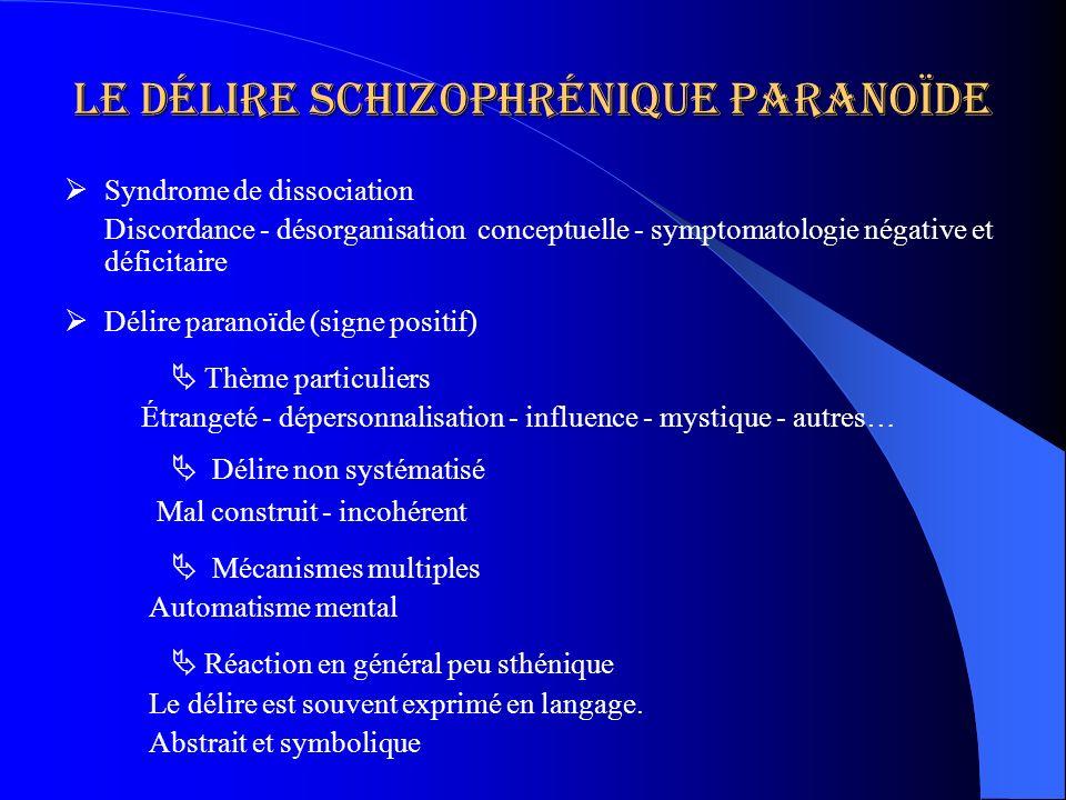 Le délire schizophrénique paranoïde Syndrome de dissociation Discordance - désorganisation conceptuelle - symptomatologie négative et déficitaire Déli