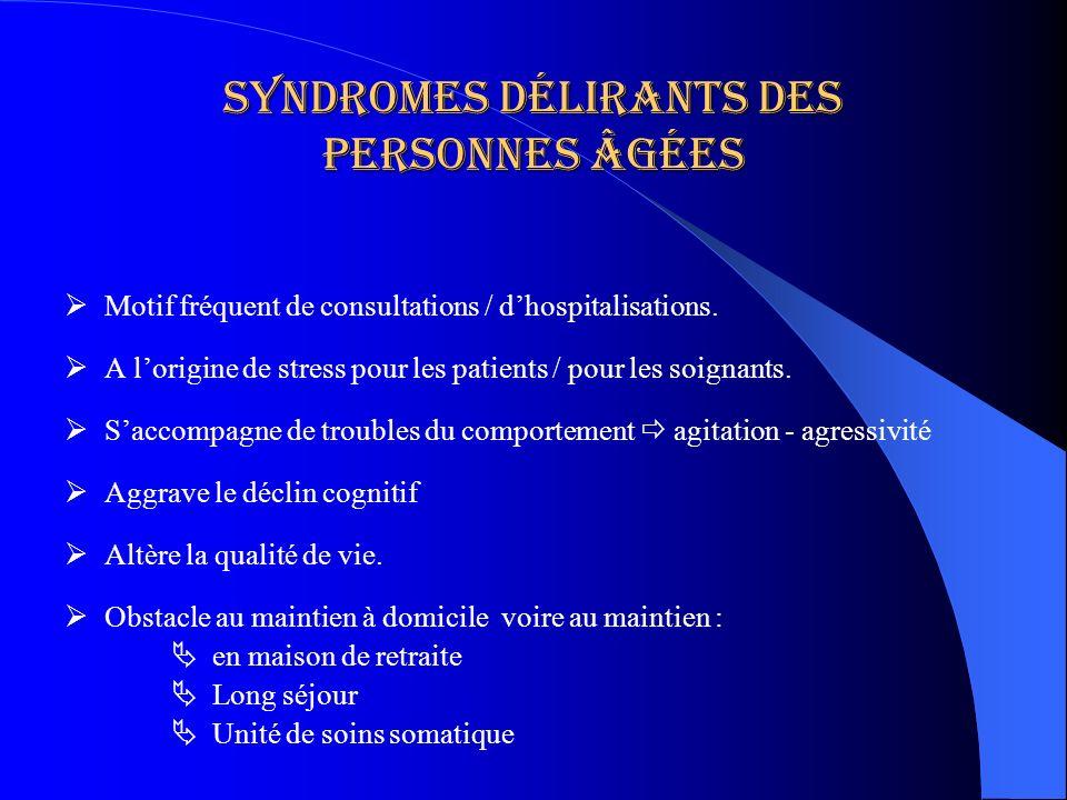 Syndromes délirants des personnes âgées Motif fréquent de consultations / dhospitalisations. A lorigine de stress pour les patients / pour les soignan