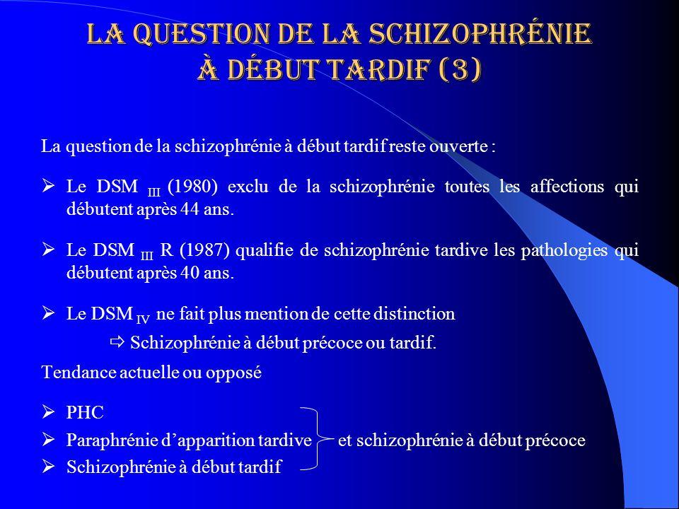 La question de la schizophrénie à début tardif (3) La question de la schizophrénie à début tardif reste ouverte : Le DSM III (1980) exclu de la schizo