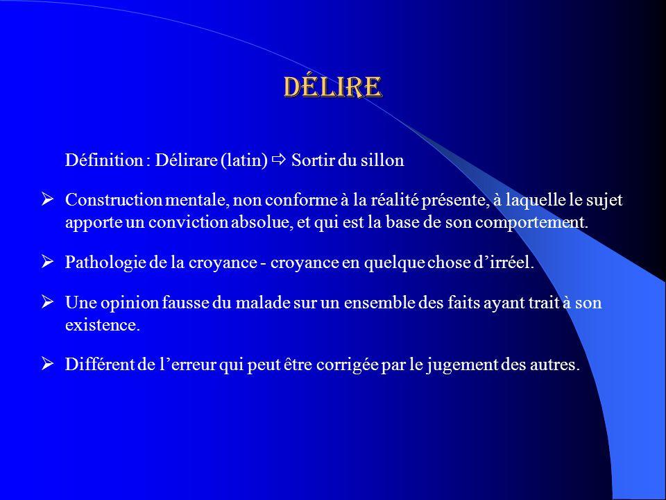 Délire Définition : Délirare (latin) Sortir du sillon Construction mentale, non conforme à la réalité présente, à laquelle le sujet apporte un convict