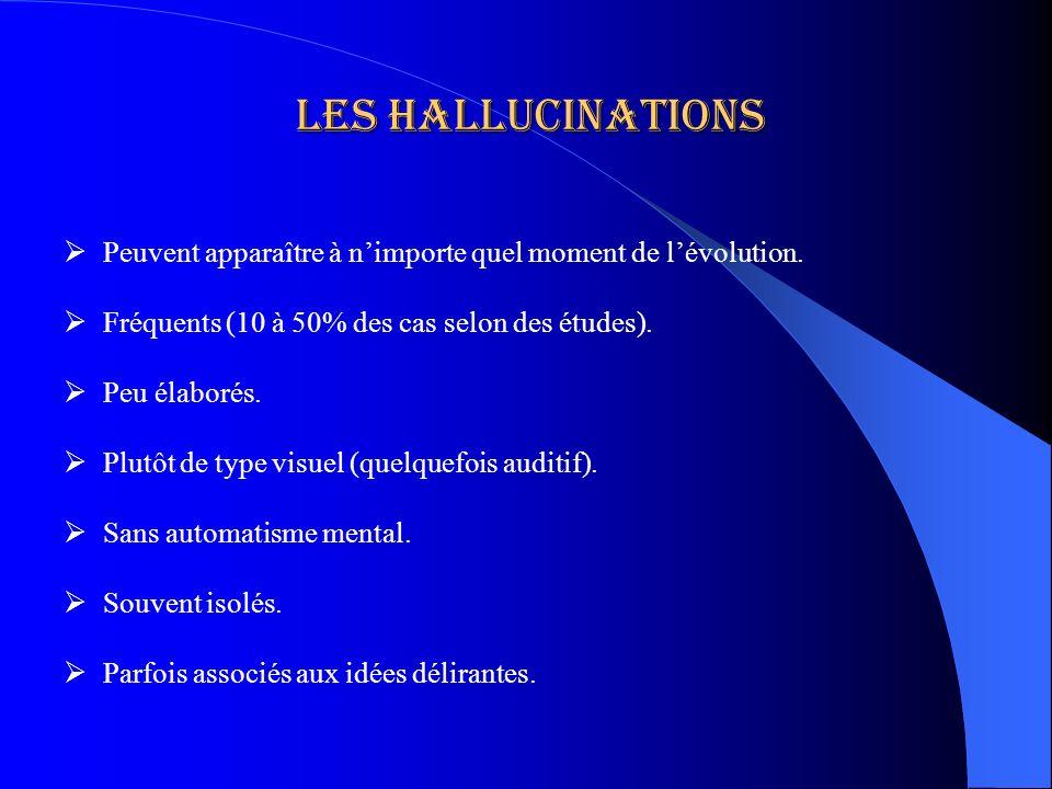 Les Hallucinations Peuvent apparaître à nimporte quel moment de lévolution. Fréquents (10 à 50% des cas selon des études). Peu élaborés. Plutôt de typ