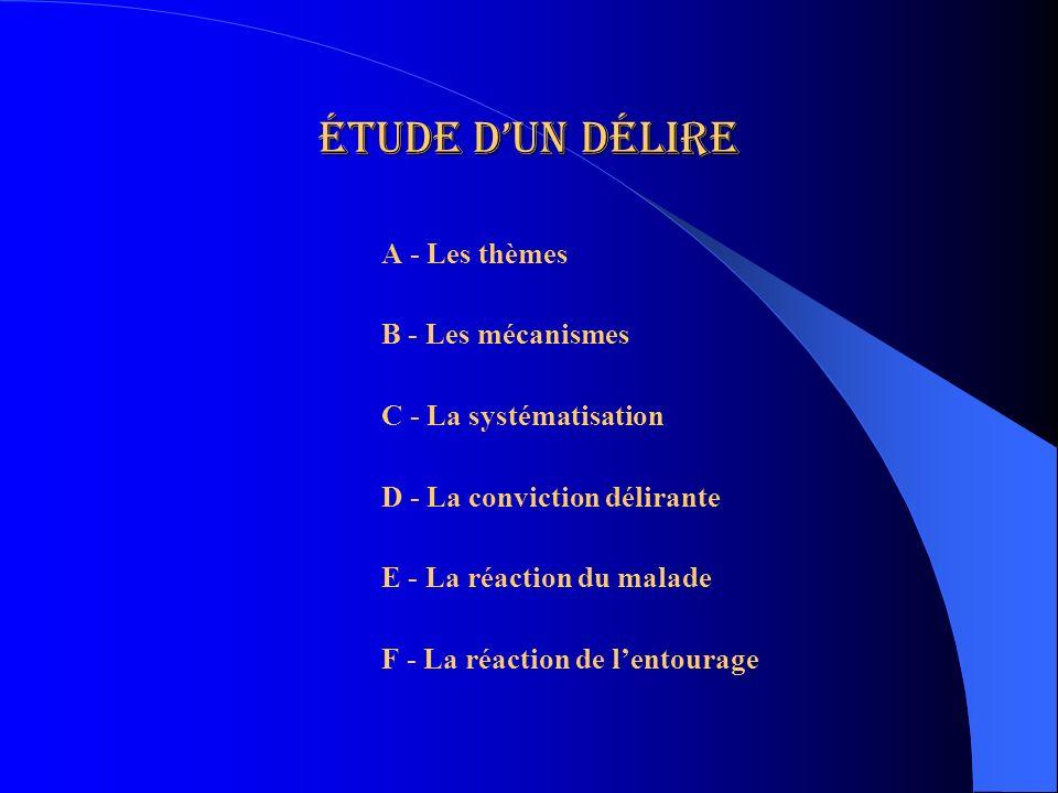 Étude dun délire A - Les thèmes B - Les mécanismes C - La systématisation D - La conviction délirante E - La réaction du malade F - La réaction de len