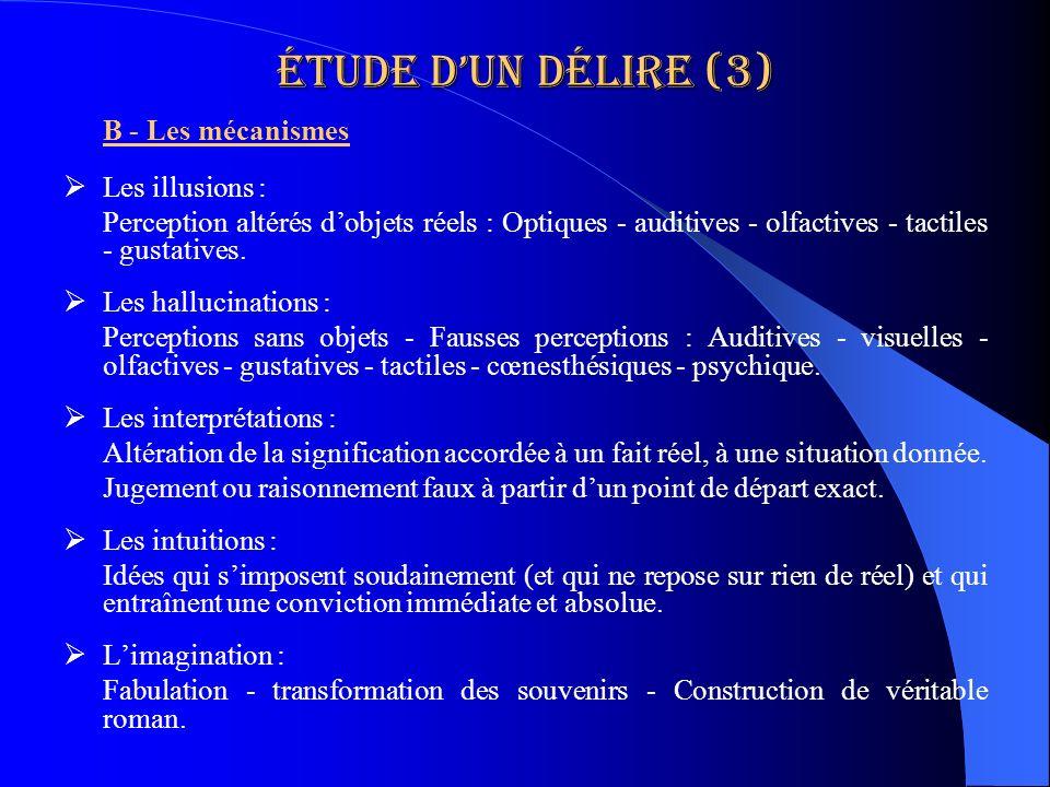 Étude dun délire (3) B - Les mécanismes Les illusions : Perception altérés dobjets réels : Optiques - auditives - olfactives - tactiles - gustatives.