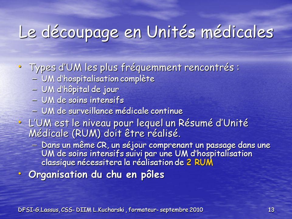 DFSI-G.Lassus, CSS- DIIM L.Kucharski, formateur- septembre 201013 Le découpage en Unités médicales Types dUM les plus fréquemment rencontrés : Types d