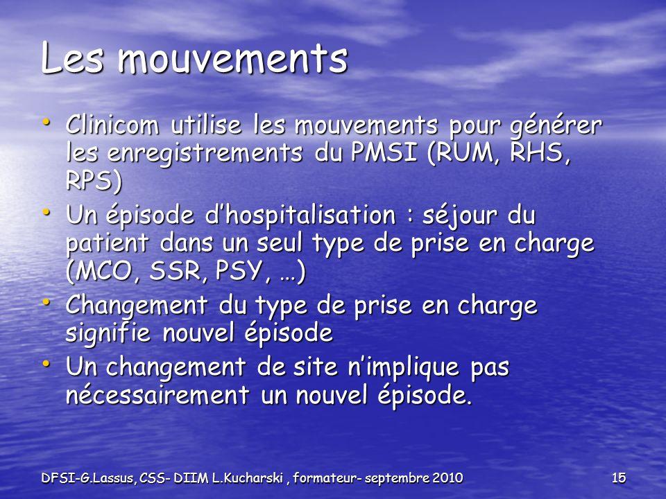 DFSI-G.Lassus, CSS- DIIM L.Kucharski, formateur- septembre 201015 Les mouvements Clinicom utilise les mouvements pour générer les enregistrements du P