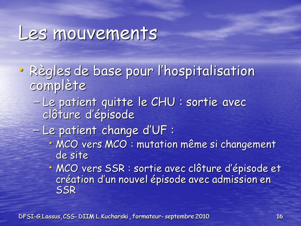 DFSI-G.Lassus, CSS- DIIM L.Kucharski, formateur- septembre 201016 Les mouvements Règles de base pour lhospitalisation complète Règles de base pour lho